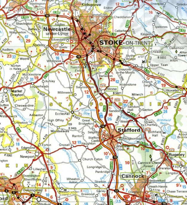Michelin Map Northern England The Midlands - Michelin germany southwest map 545